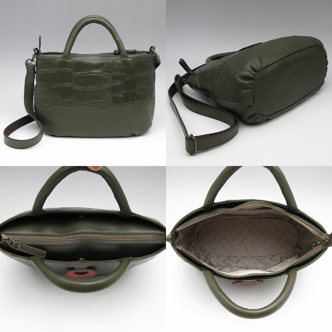 IBIZA(イビサ)牛革×ワニ型押革2WAYハンドバッグ